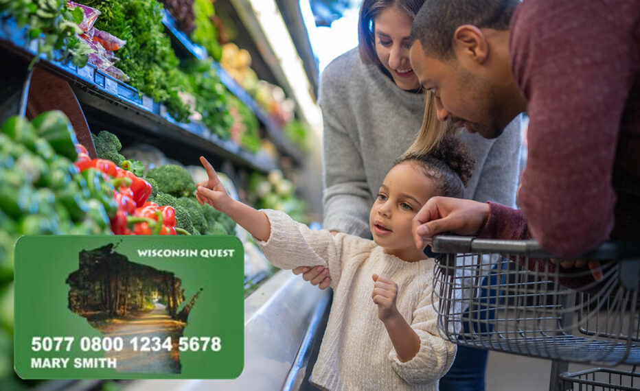 A family at a grocery store, picking out produce. An image of the Wisconsin Quest Card is pasted on top of the image