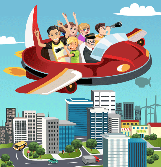 futuristic flying car with family in it.